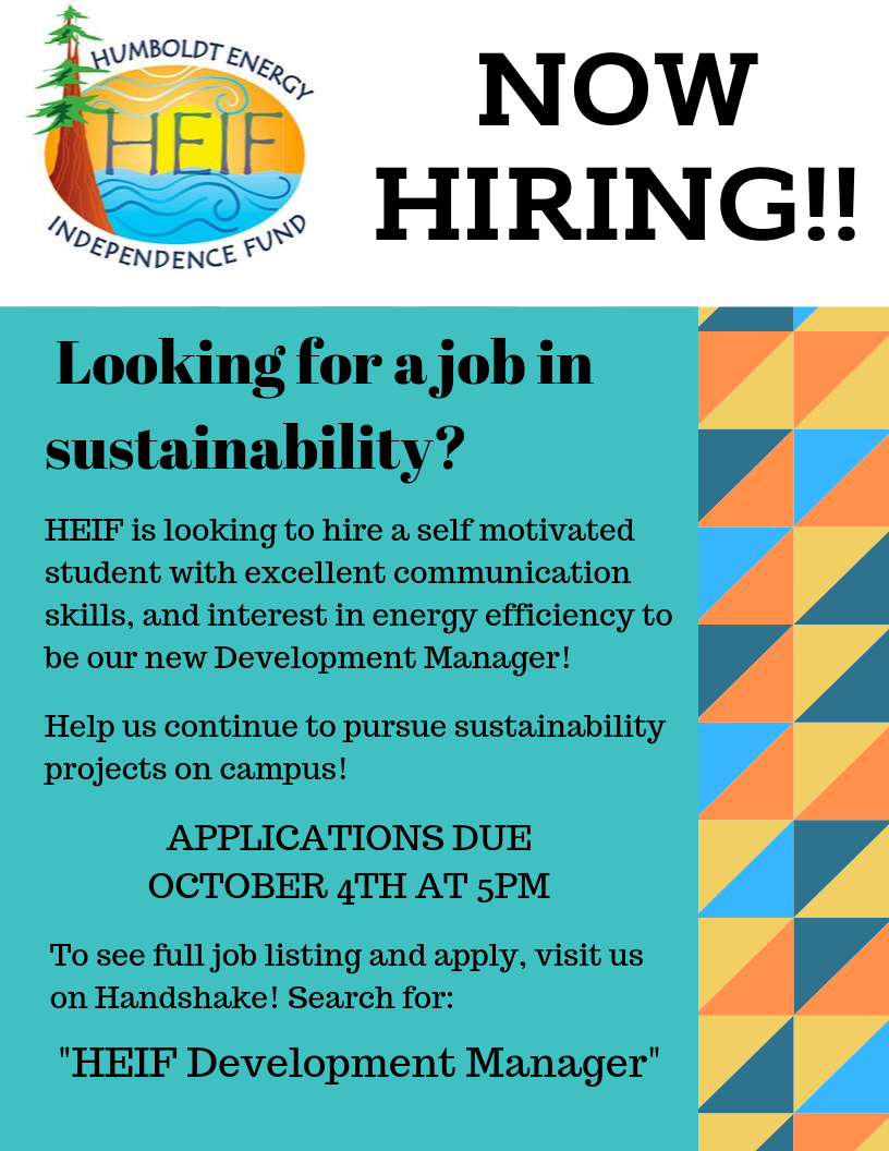 Looking for a job in sustainability? We want to hire a self motivated student with excellent communication skills, and an interest in energy efficiency.