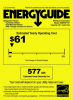 Image shows the yellow Energy Guide sticker for an energy efficient refrigerator from 2013.